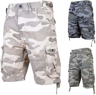 Mens Crosshatch Camouflage Combat Army Shorts Casual Camo Cargo Short Trousers