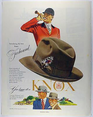 Vintage 1952 KNOX FOXHOUND MEN'S HATS Full Page Large Magazine Print Ad: Hunting