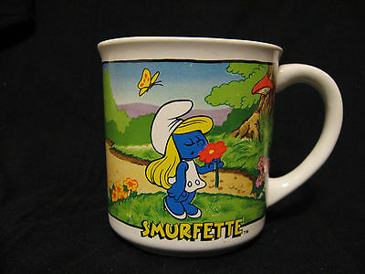 Smurfs Smurfette Collectable Cup Mug #1597 Made in Japan 1982