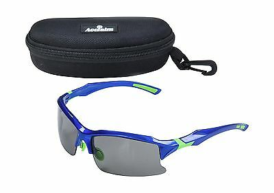 ACCLAIM Titan Cricket Cycling Sunglasses Plastic Blue Green Frame Tinted Lens