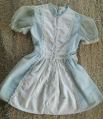 VTG Girl 50s Blue Sheer White Lace Swiss Dot Party Dress Spring Child Pinafore