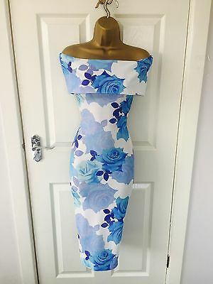 White Blue Floral Bardot Evening Party Bodycon Midi Occasion Stretch Dress