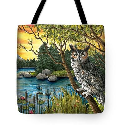 Tote Bag All over print Made in USA Bird 68 Owl from art painting by L.Dumas