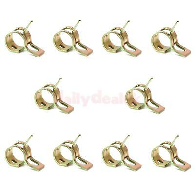 10x Spring Clip Fuel Hose Line Water Pipe Air Tube Clamps Fastener Dia 9mm