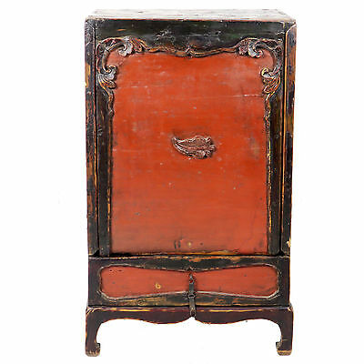 "Antique Unusual Red Front Chinese Mongolian Cabinet 20"" Wide x 32"" Tall."