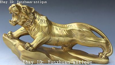 Chinese Pure Bronze Guardian Feng Shui Zodiac Year Animal Up Hill Tiger Tigers