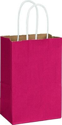 "250 Radiant Crimson Red Color-on-Kraft Paper Bags Shoppers 5 1/4"" x 3 1/2"" x 8 1"