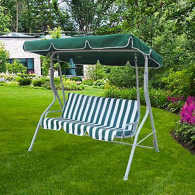 FoxHunter Green Garden Metal Swing Hammock 3 Seater Chair Bench Patio FHSC01 New