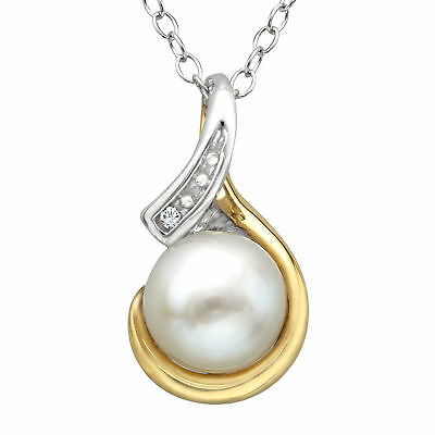 Pearl Pendant with Diamond in Sterling Silver and 10K Gold