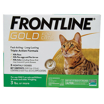 FRONTLINE GOLD FOR CATS Triple Action Formula Kills Fleas & Ticks 3 Month Supply