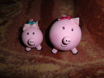 Pink Pigs Figurines Made of Wood Handcrafted 1 Large & 1 Small