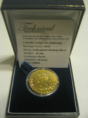 2009 Tristan Da Cunha St George & The Dragon £5 Gold Plated Sterling Silver Coin