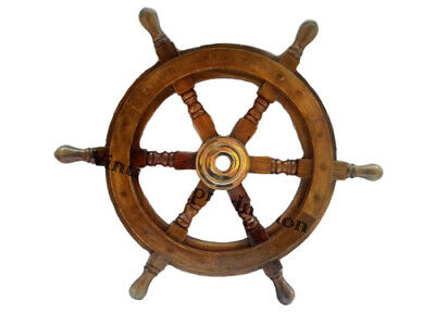 "20"" Ship's Wood Steering Wheel Antique Style Brass Nautical Sailing Decor"