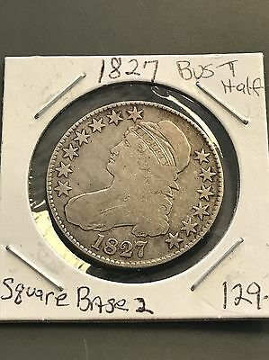 1827  US Silver Capped Bust Half Dollar, Square Base 2
