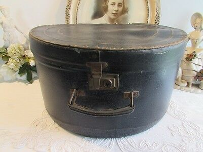 Antique French superb old round leather hat box, suit case.