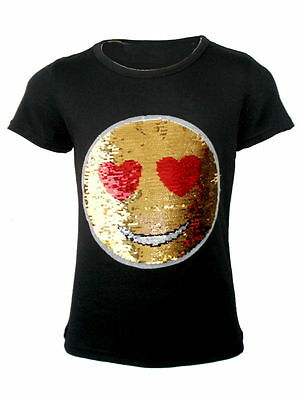 2e6f0c54a80f1 Kids Emoji Emoticon Smiley Face T-Shirt Tee Top Brush Changing Sequin Age 3-