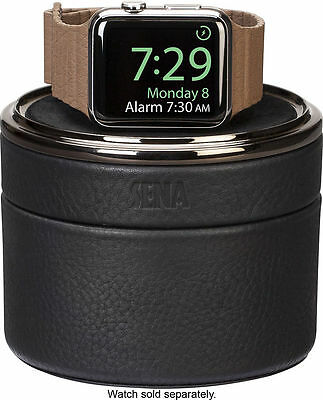 Sena - Leather Case for Apple Watch- Black/Gunmetal