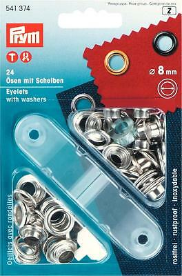 Prym 24 eyelets with discs silver 8 mm Buttons Rivets Garden 541374