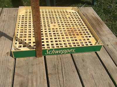 Schweppes Green Plastic Display Tray, Shelving , Vintage Grocery Store