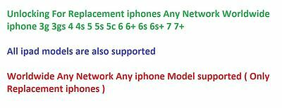 Unlocking For Replacement iphones Any Network Worldwide All iphone models