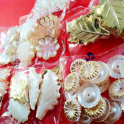 118pcs lovely WHITE & GOLD large embellishments resin - craft cardmaking toppers