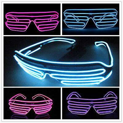 El Wire Neon LED Festival Light Up Glow Sunglasses Glasses Rave Club Party Hot M