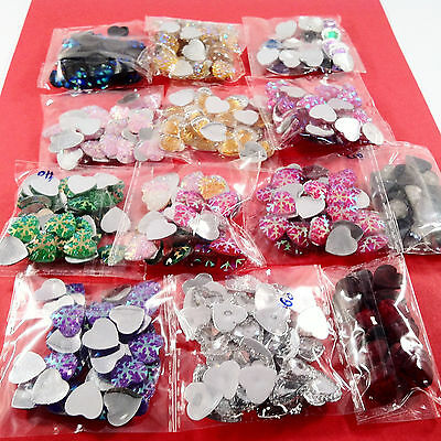480pcs HEARTS EMBELLISHMENTS - craft cardmaking cabochon toppers