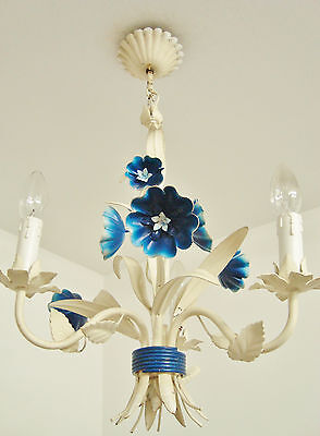 Ultimate Shabby French Chic Tole Toleware Blue Flowers Chandelier Light Lamp