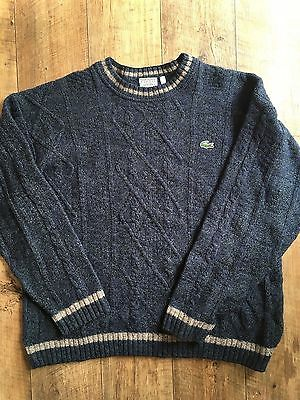 Vintage Lacoste Men's M/L 6  Sweater Jumper Wool Sleeved Sport Preppy 90s