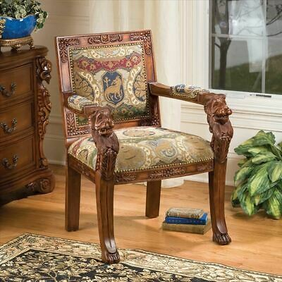 "Replica Medieval Gothic Heraldic Hand Carved Solid Mahogany 36.5"" Armchair"