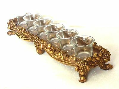 Stunning Cast Gilt Footed  6 -Glass Candle Holder Embossed Grape & Vine