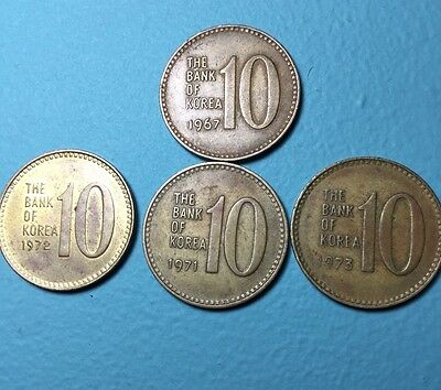 1967-73 The Bank of Korea 10 won Coins Lot Of 4 Very Rare