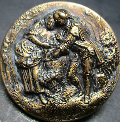 "Scarce! ""lovers With Birdcage"" Bkm ""muster"" Vintage Antique Brass Picture Button"