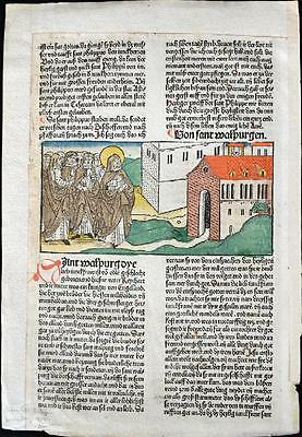 1488 HAND COLORED Leaf Legend Of The Saints SAINTS MONASTERY Rubricated RARE
