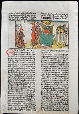 1488 HAND COLORED Leaf Legend Of The Saints, KING, WORSHIP, Rubricated RARE