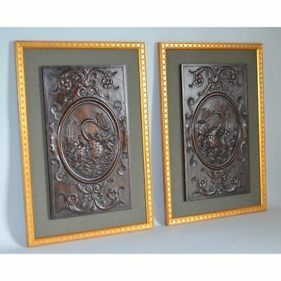 Pair Framed Antique Carved Walnut Salvaged Empire Wall Panels Napoleonic Swans