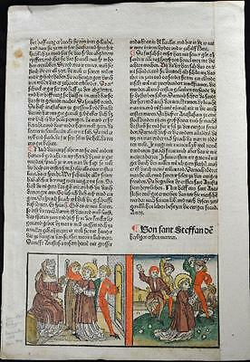 1488 HAND COLORED Leaf The STONING Of Saint STEPHEN Rubricated RARE