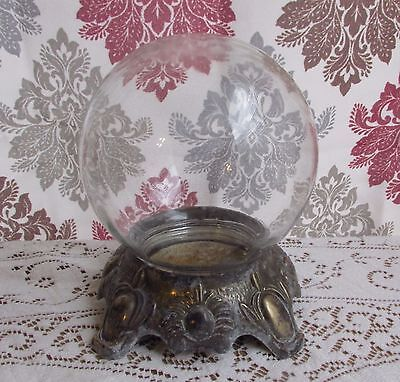 Vintage Round Glass Globe Jar w/ Lid and Base ~ Bowl-O-Beauty Co. Real Roses