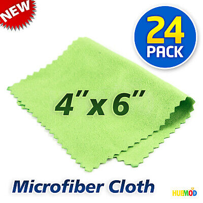 Lot 24 Microfiber Cleaning Cloth LCD Screen Lens Camera Eyeglasses Glasses 4x6""
