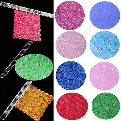 30 Styles Textured Embossing Acrylic Rolling Pin Cake Decorating Fondant Tools