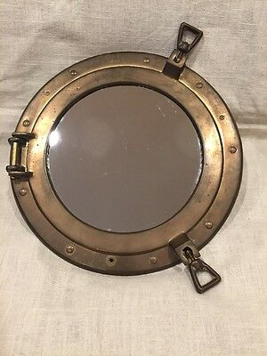 Antique Vintage Brass Ship Porthole Window Frame Nautical With Mirror