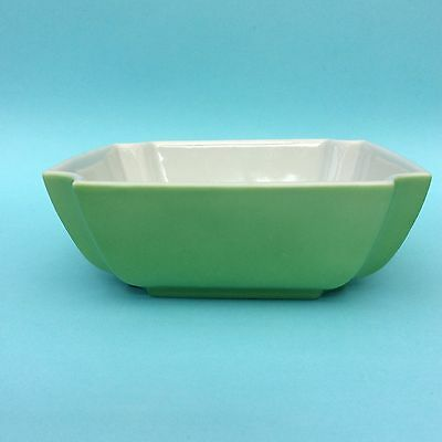 MID-CENTURY RETRO JAPANESE DISH BOWL Jade Green & White Scalloped Corners NICE!