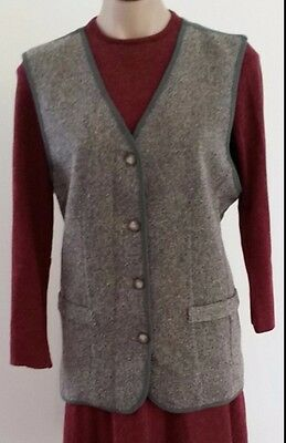 Retro 1980s Leesa Fashion GREY GREEN Wool Blend Sleeveless Buttoned Vest size 12