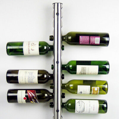 Stainless Steel Wine Rack Bar Wall Mounted Kitchen Dining 12 Bottles Holder
