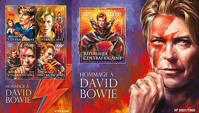 Z08 CA16015ab CENTRAL AFRICA 2016 David Bowie MNH Set
