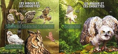Z08 IMPERFORATED CA15614ab CENTRAL AFRICA 2015 Owls Birds MNH Set