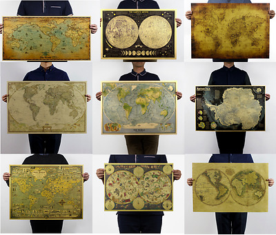 Retro Antique World Map Poster Vintage Style Wall Decor Picture Maps Fast Post