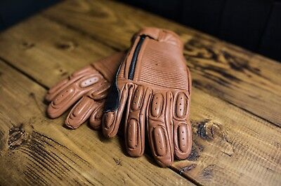 Kuna customs brown retro leather motorcycle gloves, bobber cafe racer brat style