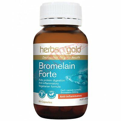 Herbs Of Gold BROMELAIN FORTE 60Capsules, Reduces Pain, Swelling & Inflammation