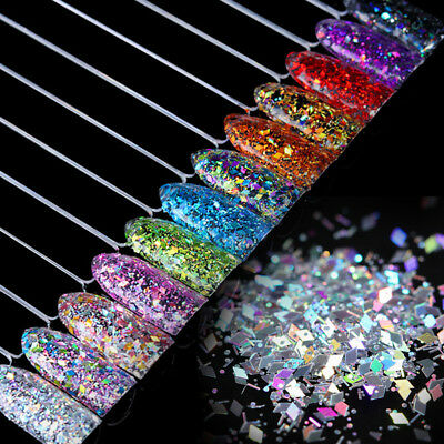 Nail Flakes Glitter Sequins Paillette Rhombus 3D Decoration Nails Tips Manicure